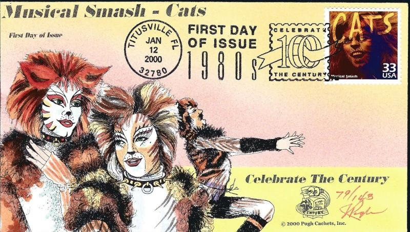 Beautiful Pugh Painted Musical CATS FDC #95 of 143... Add to your FDCs!