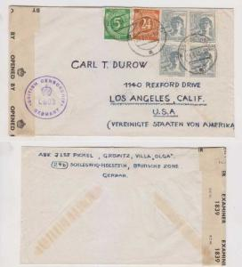 GERMANY 1947 Sc 534, 544 & 561 TWO PAIRS CENSOR COVER TO USA VF & UNUSUAL