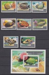 Z3964, 1980 congo demoractic republic mnh set + s/s non scott tropical fish #