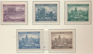 Bohemia and Moravia (Czechoslovakia) Stamps Scott #35 To 39, Mint Hinged - Fr...