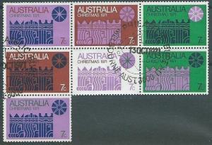 AUSTRALIA 1971 Christmas used block of 7...................................40953