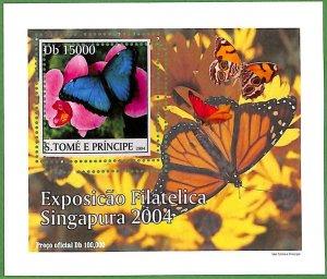 A0548 - S. TOME' & PRINCIPE -  ERROR  MISSPERF SHEET -  Butterflies  2004