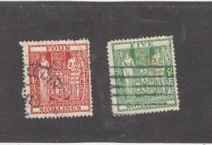 NEW ZEALAND  # AR49-50  VF-USED  4,5sh COAT OF ARMS RED & GREEN  CAT VALUE $20
