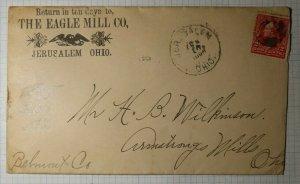 Quaker Mormon Eagle Mill Co Jerusalem OH 1896 Cover Ad Rare Cancel From Period