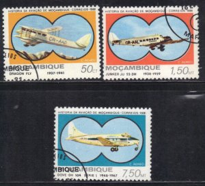 MOZAMBIQUE SC# C39+40+42 **USED**  1981  AIRPLANES  SEE SCAN