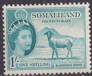 Somaliland 1953 - 58 QE2 1/-d Light Blue MM SG 144 ( R1028 )