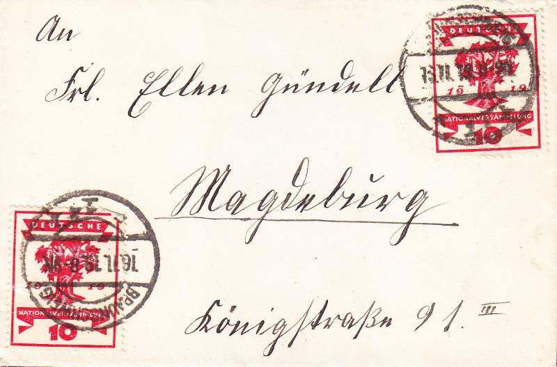 Germany 1919 10pf National Assembly (2) used on Cover