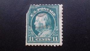 United States 11 cents Benjamin Franklin (torn - gap filler) Used
