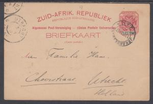 Transvaal H&G 4 used 1896 1p Postal Card Johannesburg to Utrecht, Holland