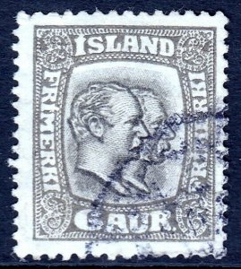 ICELAND — SCOTT 103 — 1915 6a TWO KINGS ISSUE P14X14½ — USED — SCV $150