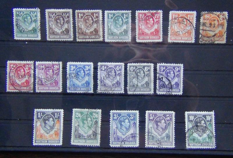 Du nord Rhodesia 1938-52 valeurs to 10s D'occasion