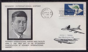 US Kennedy Airport Mail Facility First of Cancellation 1964 Cover