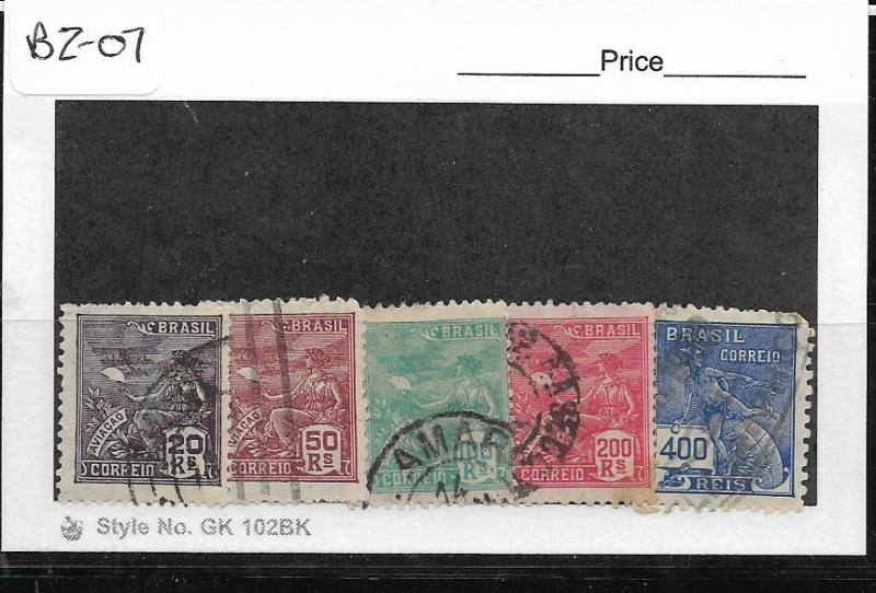 BRAZIL  BZ-07 SET OF 5 USED STAMPS