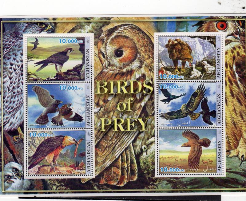 Afghanistan Birds of Prey Sheetlet MNH