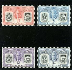 Nyasaland 1951 KGVI Diamond Jubilee set complete MNH. SG 167-170. Sc 91-94.