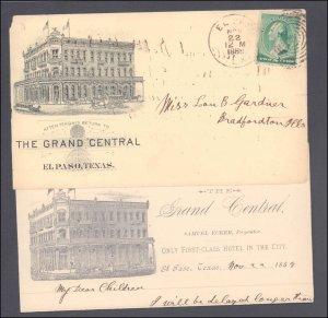 El Paso County El Paso with Letter ( Postal History ), 1888