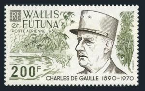 Wallis & Futuna C104,hinged.Michel 384. Charles De Gaulle,1980.WW II scene,ship.
