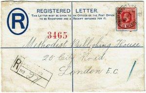 Sierra Leone 1914 Freetown cancel on registry envelope to England