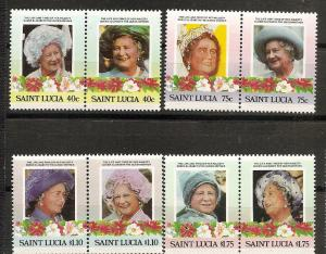 St. Lucia MNH 782-5 Pairs Queen Mother 85th Birthday