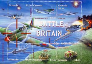 Grenada 2000 MNH WWII WW2 Battle of Britain 6v MS II Supermarine Spitfire Stamps
