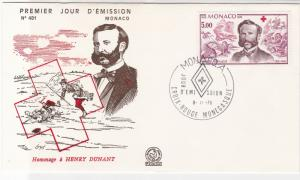 Monaco 1978 Hommage to Henry Dunant  Red Cross Cancel FDC Stamp Cover Ref 26435