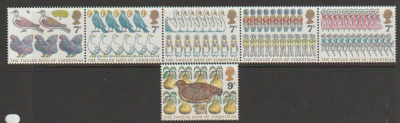 Great Britain SG 1044 - 1049 set Mint se-tenant strip of 5 plus SG  1049