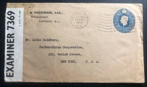1942 Bethnalgreen England Buck & Hickman Stationery Censored Cover To New York