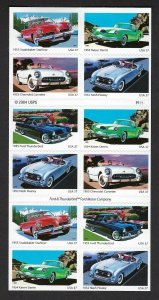 U.S. #3935b 50S SPORTY CARS  BOOKLET PANE MINT, NH AT FACE VALUE!