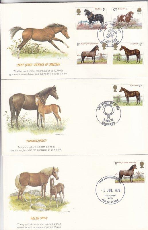 1978, Great Britain: Best Loved Horses, Grp 5, FDC(S18759)