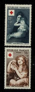 France SC# B291 & B292, Mint Hinged, Hinge Rem, B291 lg ink rem on back - S3831