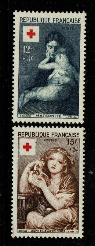 France SC# B291 & B292, Mint Hinged, Hinge Rem, B291 lg ink rem on back - S3831