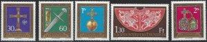 Liechtenstein 1975 #567-71 MNH. Artifacts