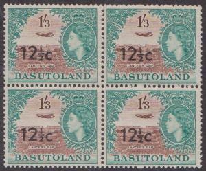 Basutoland - 1961 12 1/2c Ovpt. Type I Block of 4 VF-NH