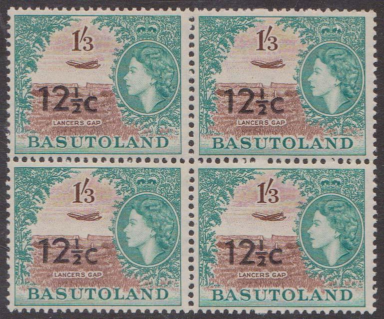 Basutoland - 1961 12 1/2c Ovpt. Type I Block of 4 VF-NH