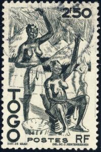TOGO - 1947 - Yv.244/Mi.203 2fr50 noir Femmes Filant le Coton - Oblitéré TB