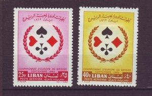 J24043 JLstamps 1962 lebanon set mh #c353-4 playing cards