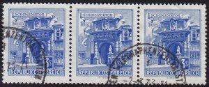 Austria - 1962 - Scott #699 - used strip of 3 - Vienna