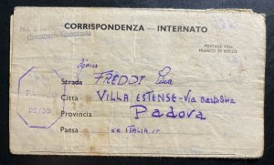 1943 Southern Rhodesia Interment POW Camp 5 Letter Cover To Padova Italy Freddi