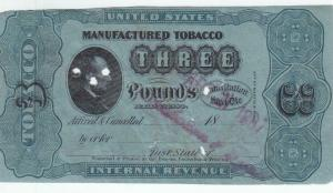 3 Lbs Tobacco, 1883 Series, Springer TF 180A, Slightly Trimmed (23492)