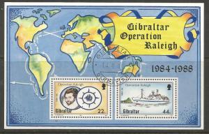 GIBRALTAR 539 USED SIR WALTER RALEIGHS VOYAGE SOUVENIR SHEET 1988