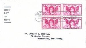 #962, 3c Francis Scott Key, general purpose cachet, block of 4