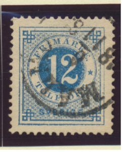 Sweden Stamp Scott #22, Used