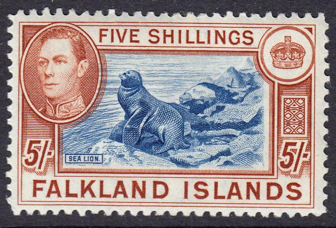 Falkland Islands KGVI 1938 5/- 5s Dull Blue Yellow Brown SG161c Mint Hinged