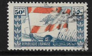 LEBANON, 187,  USED, SOLDIERS AND FLAGS