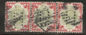 Great Britain Scott 138 KEVII 1902 perfin stamp strip