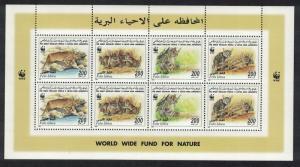 Libya WWF African Wild Cat Sheetlet of 2 sets SG#2654-2657 MI#2496-2499