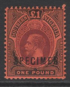 SOUTHERN NIGERIA SG56s 1912 £1 PURPLE & BLACK/RED MTD MINT