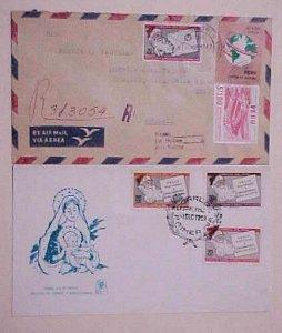 PERU  SANTA CLAUS FDC 1969 & 1967 REGISTERED  COVER TO USA