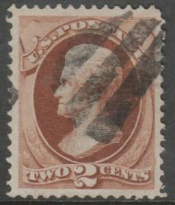#135 2¢ USED HUGE MARGINS XF W/ NEAT BLACK CNL & CLEAR GRILL IMPRESSION BL1451