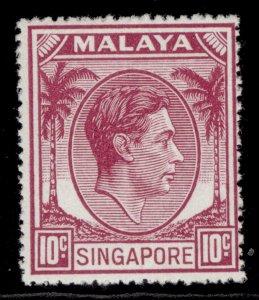 SINGAPORE GVI SG22, 10c purple, LH MINT.